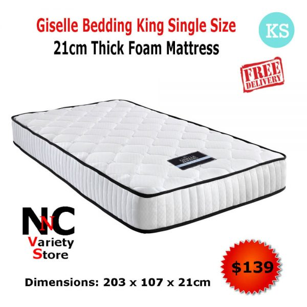 quality design c9f18 4d842 Giselle Bedding King Single Size 21cm Thick Foam Independent pocket spring  Mattress