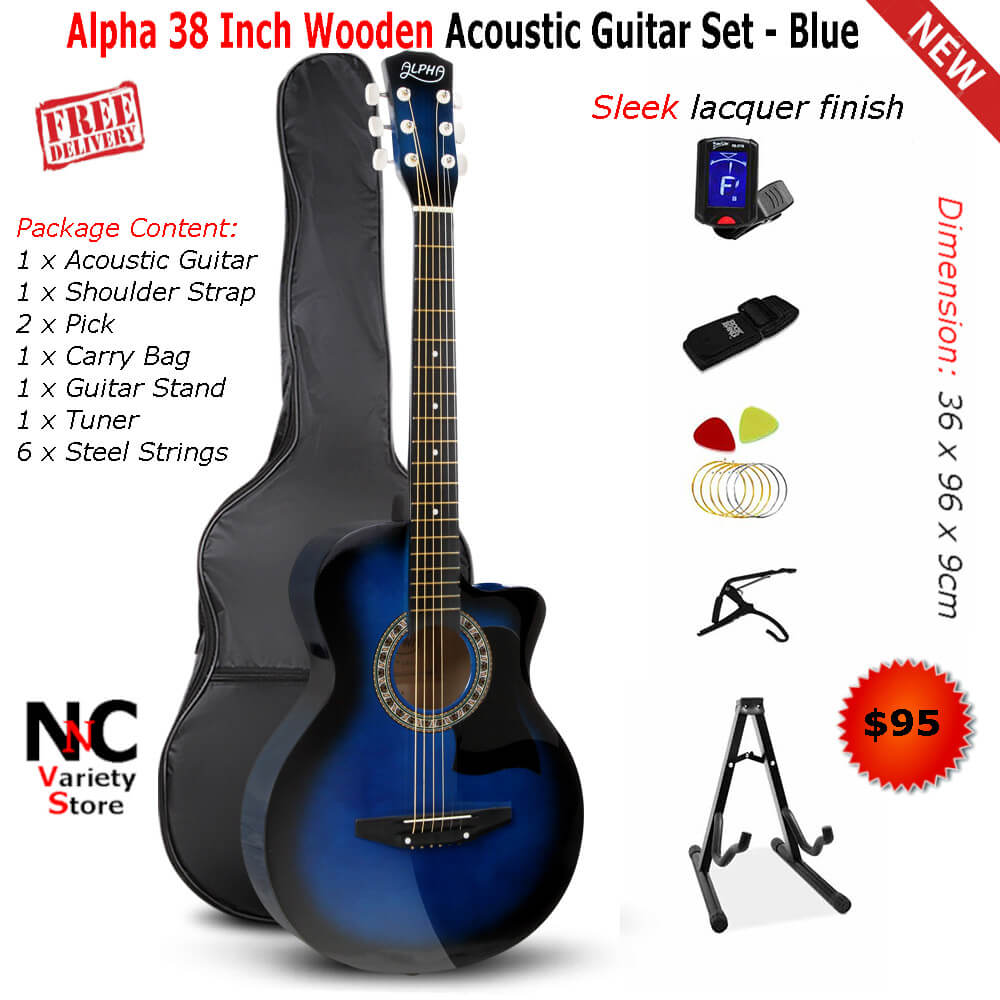 85ebd6ac333 Alpha 38 Inch Wooden Acoustic Guitar Set - Blue - Nice n Cheap Variety Store