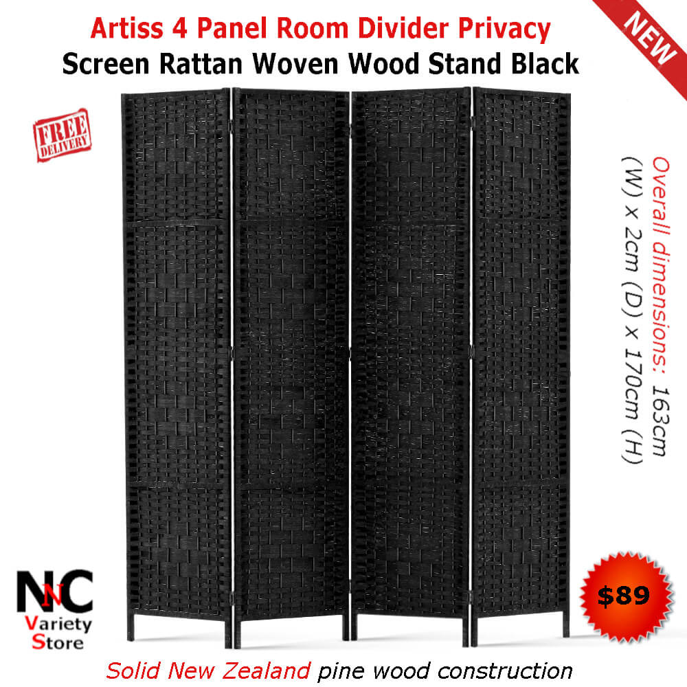 Superb Artiss 4 Panel Room Divider Privacy Screen Rattan Woven Wood Download Free Architecture Designs Viewormadebymaigaardcom