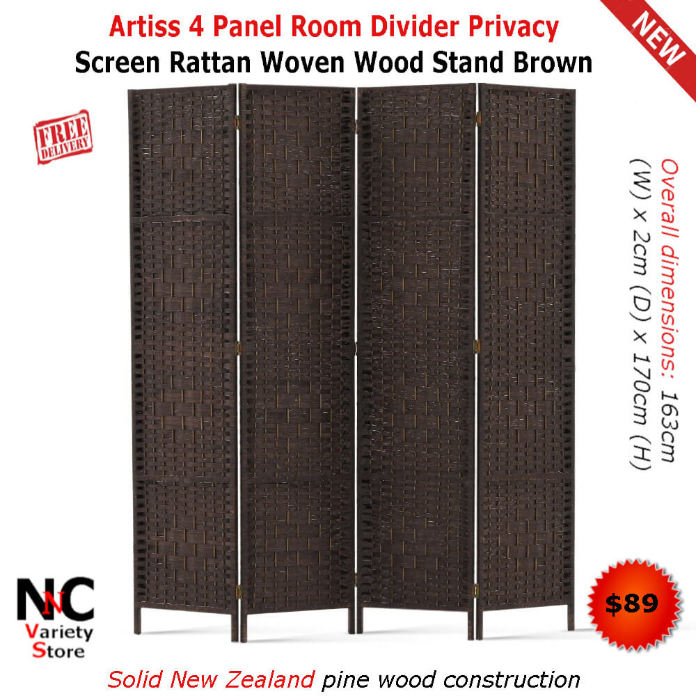 Remarkable Artiss 4 Panel Room Divider Privacy Screen Rattan Woven Wood Download Free Architecture Designs Viewormadebymaigaardcom