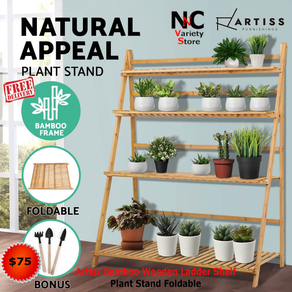 f94b29a8a46d Artiss Bamboo Wooden Ladder Shelf Plant Stand Foldable - Nice n ...