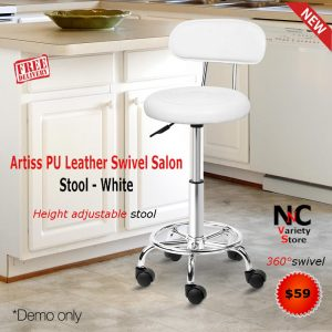 Pleasant Artiss Pu Leather Swivel Salon Stool White Download Free Architecture Designs Remcamadebymaigaardcom