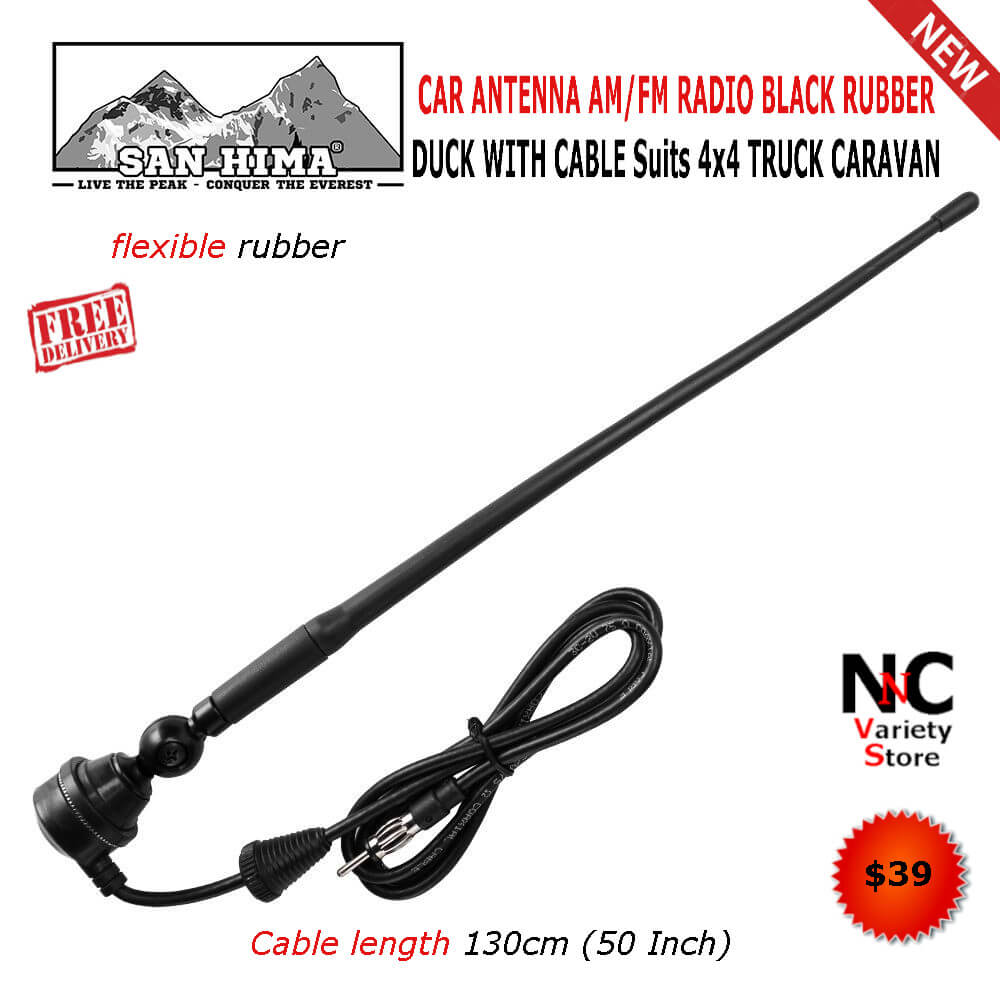 CAR ANTENNA AM/FM RADIO BLACK RUBBER DUCK WITH CABLE Suits