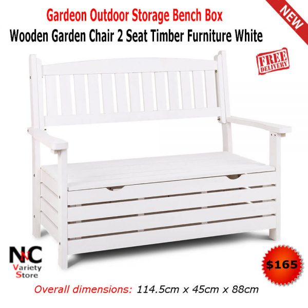 Awesome Gardeon Outdoor Storage Bench Box Wooden Garden Chair 2 Seat Timber Furniture White Gamerscity Chair Design For Home Gamerscityorg