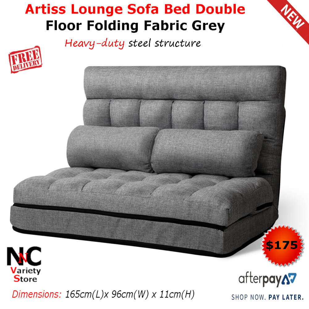 59b5b88d6428 Artiss Lounge Sofa Bed Double Floor Folding Fabric Grey - Nice n ...