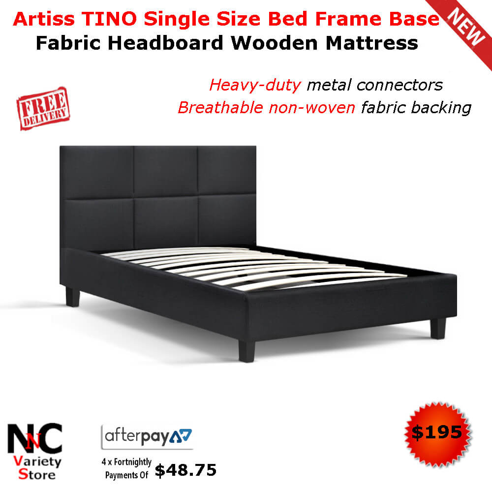Artiss Tino Single Size Bed Frame Base Fabric Headboard Wooden