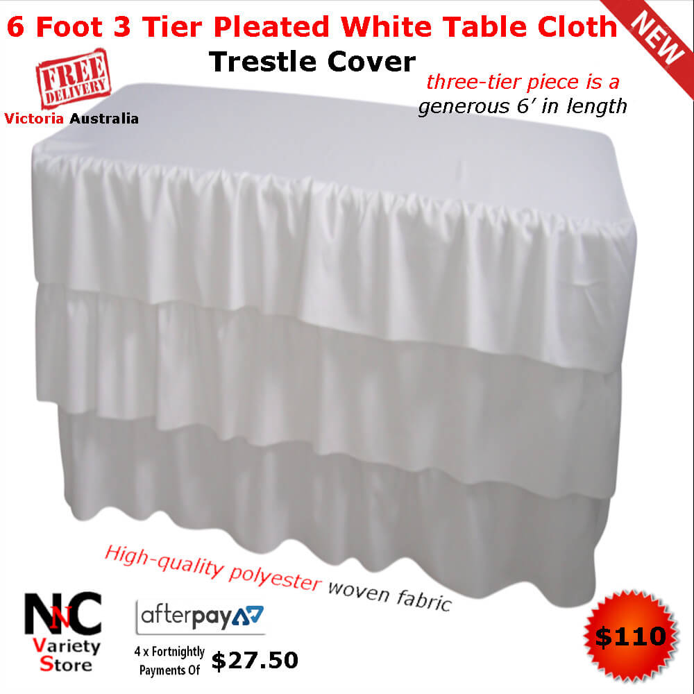 Awesome 6 Foot 3 Tier Pleated White Table Cloth Trestle Cover Nice Home Interior And Landscaping Fragforummapetitesourisinfo