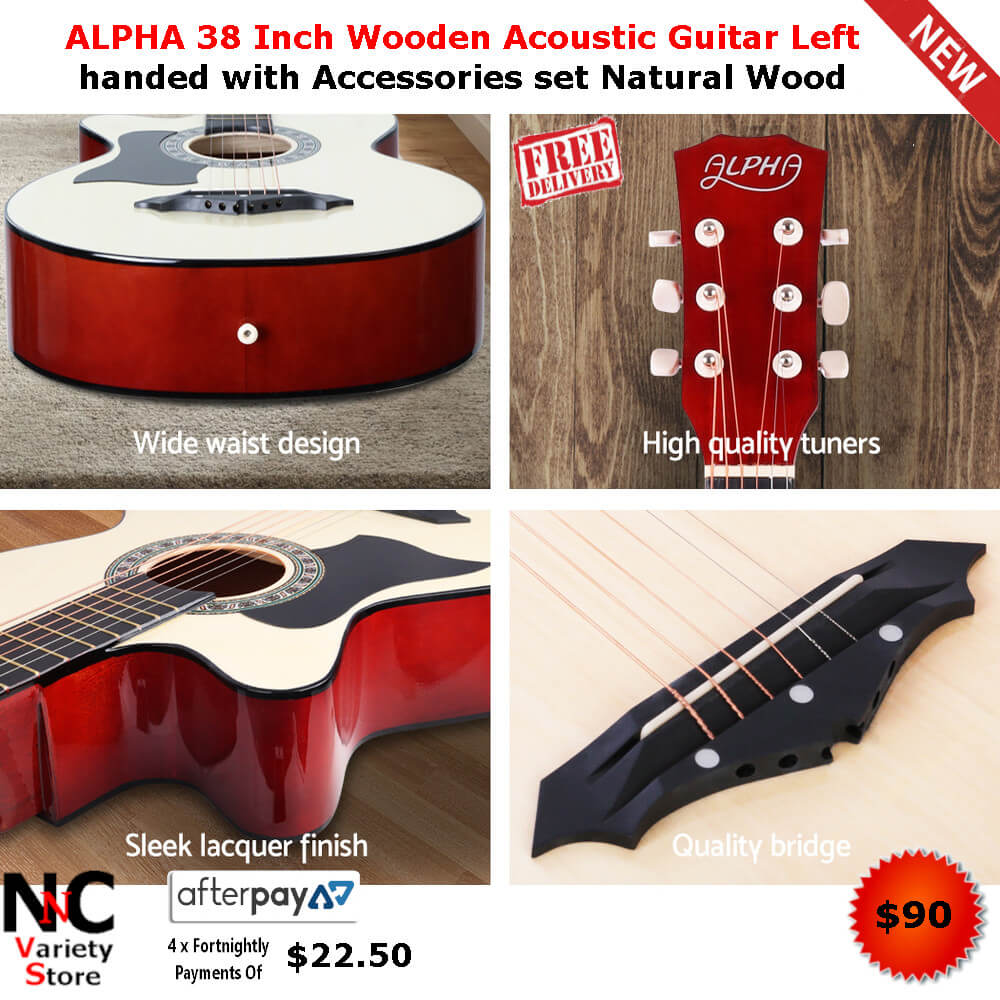 ALPHA 38 Inch Wooden Acoustic Guitar Left handed with
