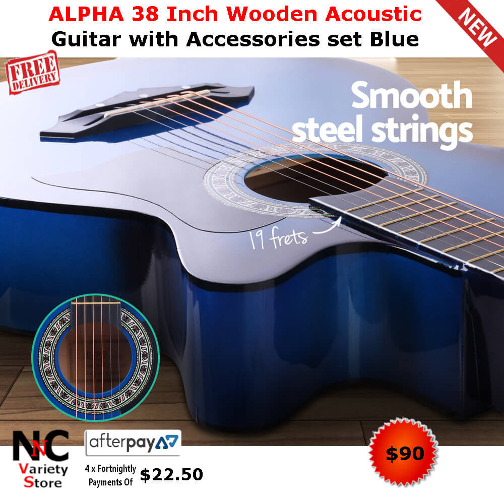 9a77a2dbe51 ALPHA 38 Inch Wooden Acoustic Guitar with Accessories set Blue - Nice n  Cheap Variety Store