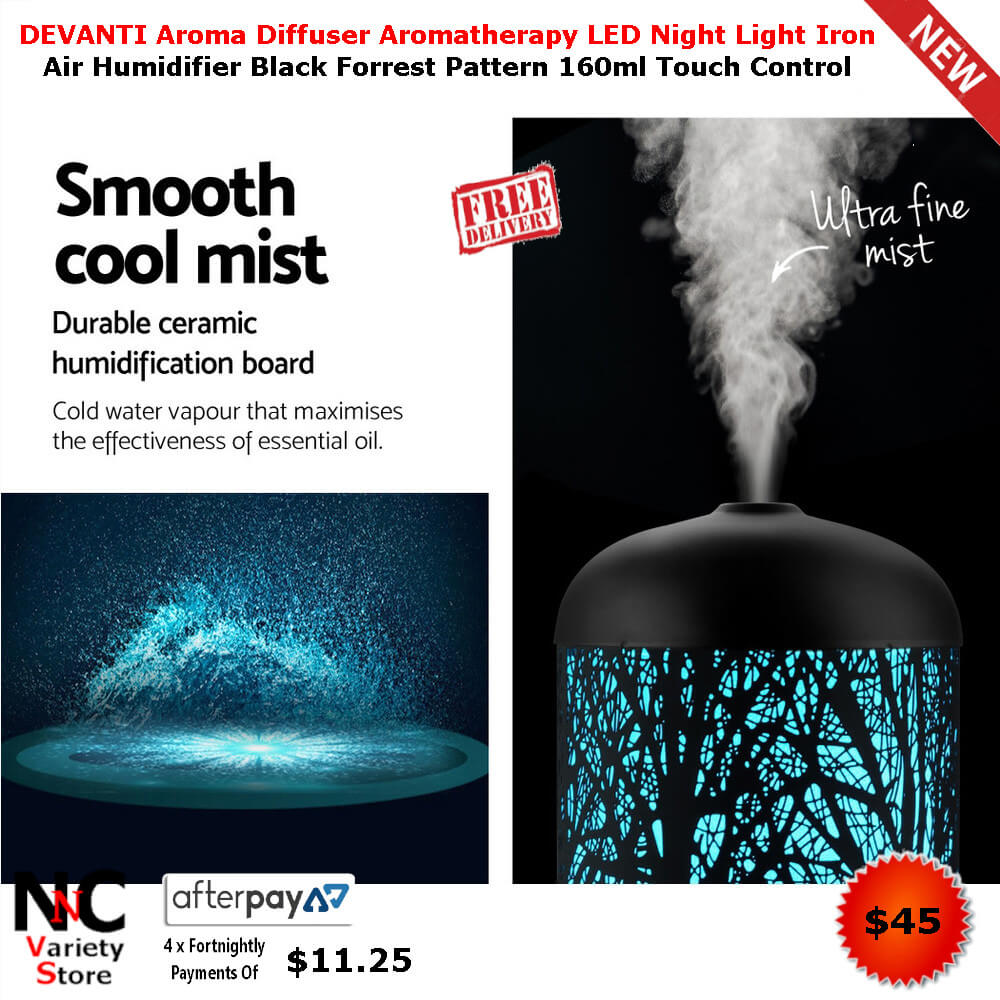 78cbb1fa2e0 DEVANTI Aroma Diffuser Aromatherapy LED Night Light Iron Air Humidifier  Black Forrest Pattern 160ml Touch Control - Nice n Cheap Variety Store