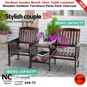 Pleasing Gardeon Garden Bench Chair Table Loveseat Wooden Outdoor Furniture Patio Park Charcoal Interior Design Ideas Tzicisoteloinfo