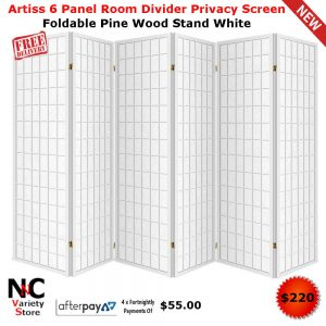 Awesome Artiss 6 Panel Room Divider Privacy Screen Foldable Pine Wood Stand White Download Free Architecture Designs Embacsunscenecom
