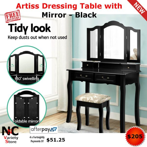 new product 9d499 9b397 Artiss Dressing Table with Mirror - Black