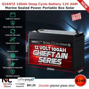 GIANTZ 100Ah Deep Cycle Battery 12V AGM Marine Sealed Power Portable Box  Solar