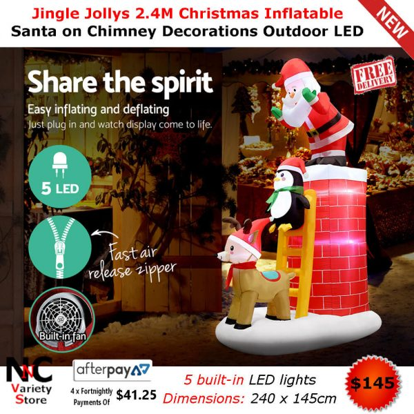 Inflatable Christmas Decorations.Jingle Jollys 2 4m Christmas Inflatable Santa On Chimney Decorations Outdoor Led