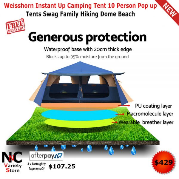 the best attitude 24de0 78f70 Weisshorn Instant Up Camping Tent 10 Person Pop up Tents Swag Family Hiking  Dome Beach