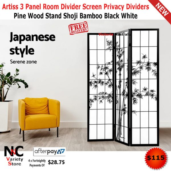 Screens Room Dividers Home Garden 3 Panel Room Divider Privacy Screen With Bamboo Design Black White 360idcom Fr
